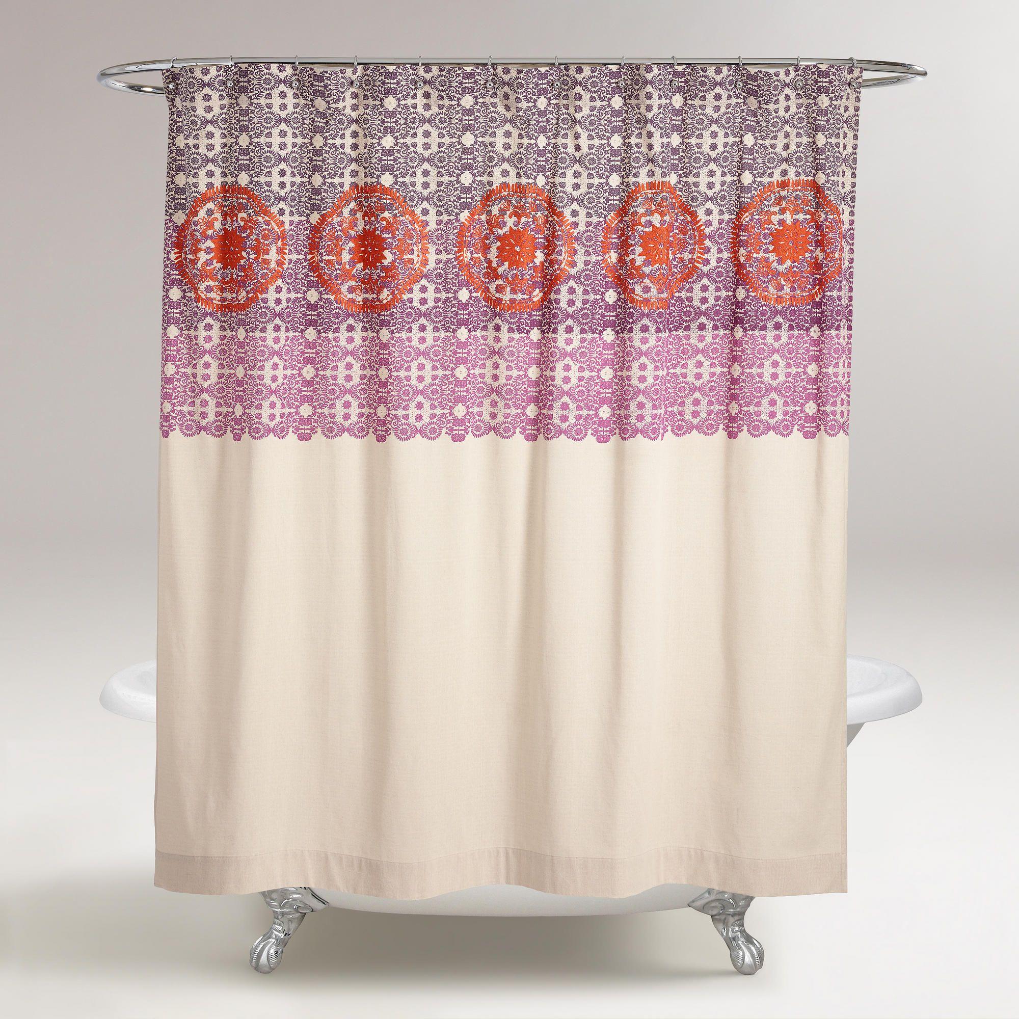 Iris embroidered shower curtain world market bathroom