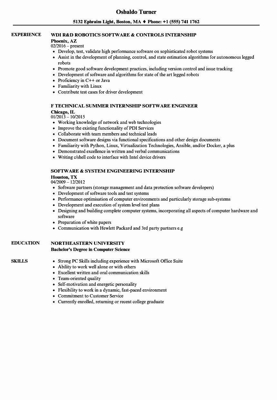 25 Computer Science Internship Resume in 2020 Internship
