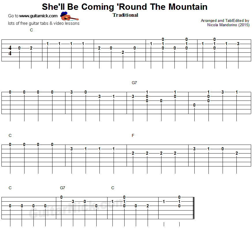 Guitar lesson with free tablature  video tutorial  sheet music and chords   SHE LL BE COMING  ROUND THE MOUNTAIN easy for beginners. She ll Be Coming  Round The Mountain   easy guitar tablature   I m