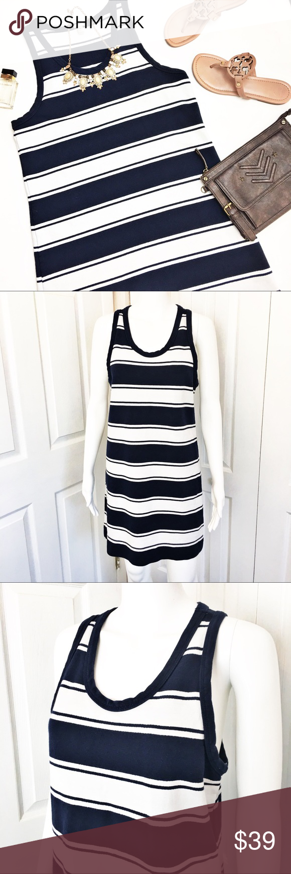 J Crew Rugby Stripe Tank Dress Navy Blue And White Striped By