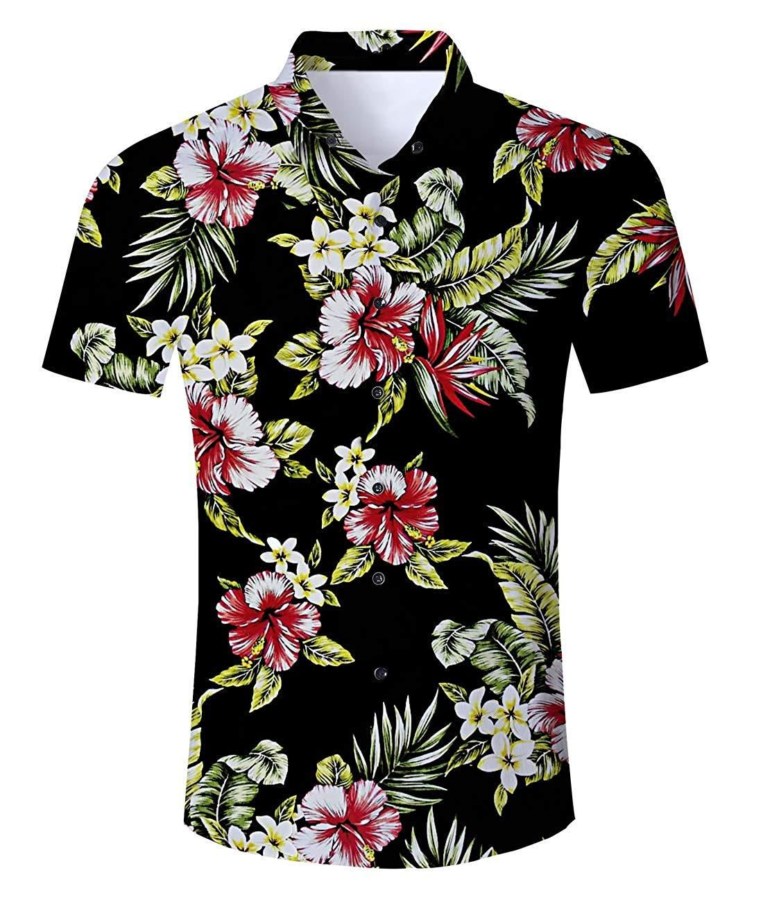 Mens Aloha Beach Fashion Short Sleeve Loose Fit Printing Button Front Shirts