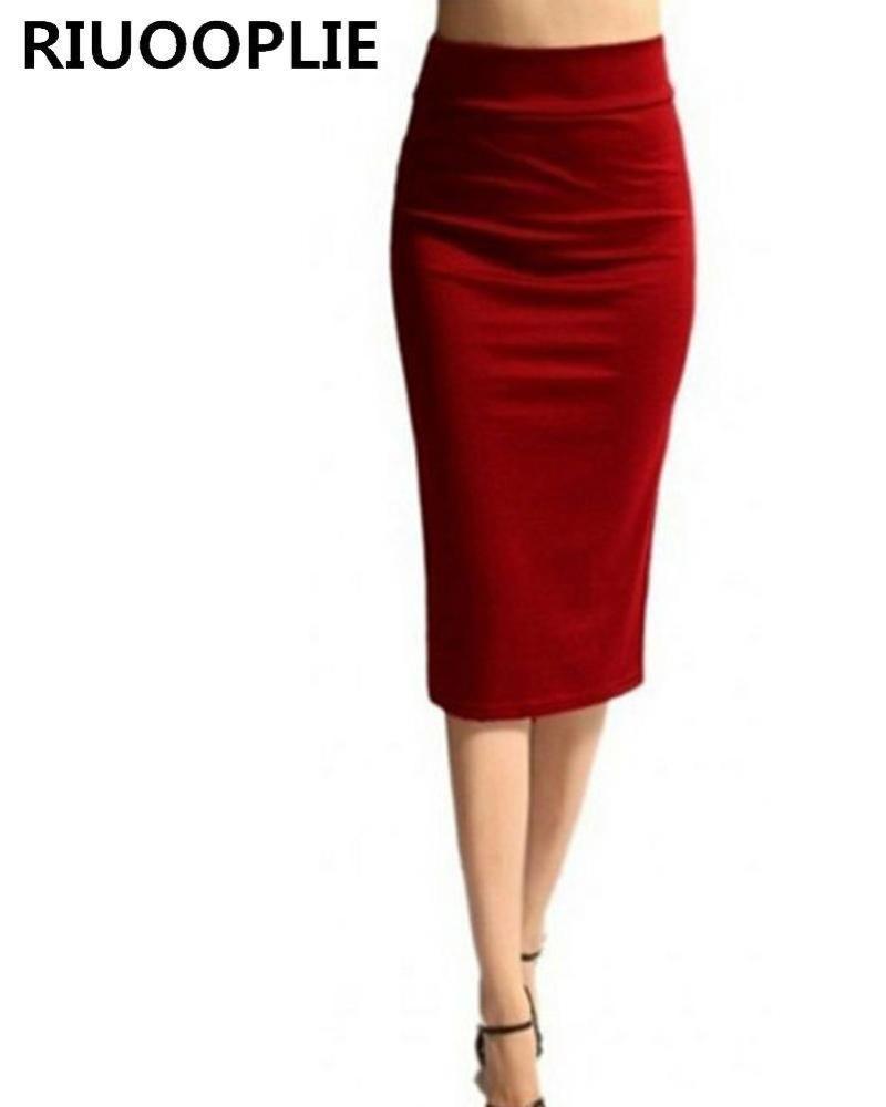 75d3e39f14b Knee Length Pencil Skirt - Red