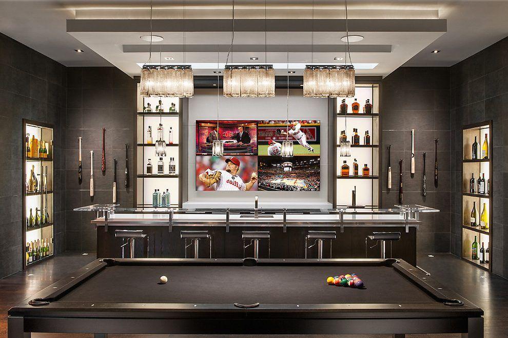 Sports Bar Home Bar Contemporary With Liquor Display Contemporary