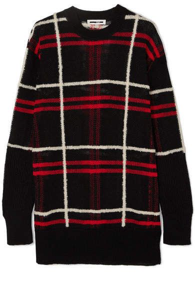Blend Linen Checked Oversized Sweater Black Mcq 4vazwxwq