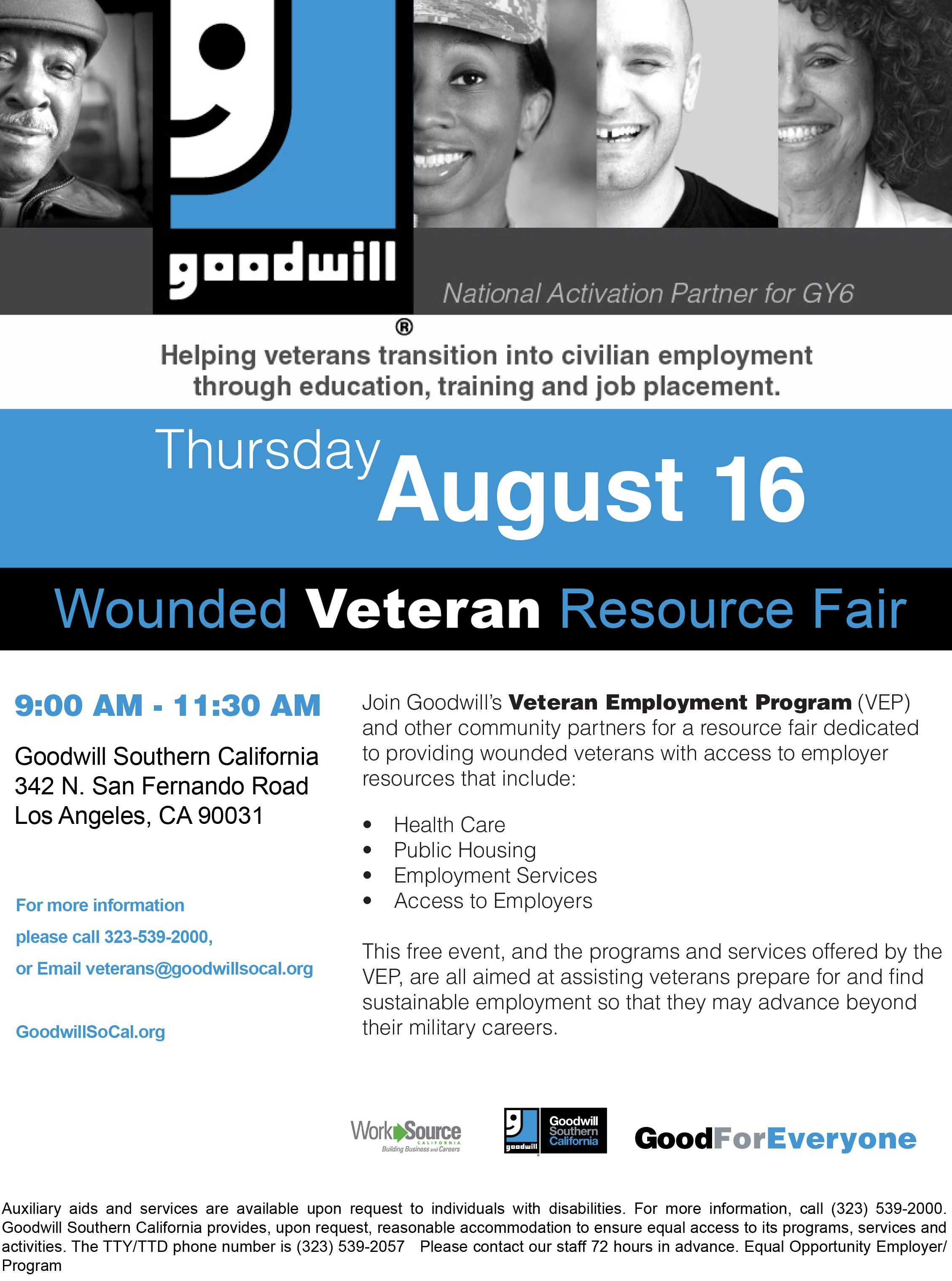 Goodwillsocal August 16 In Los Angeles This Is Not About What Type Of Wound You Received Where You Operation Gratitude Charity Support Support Veterans