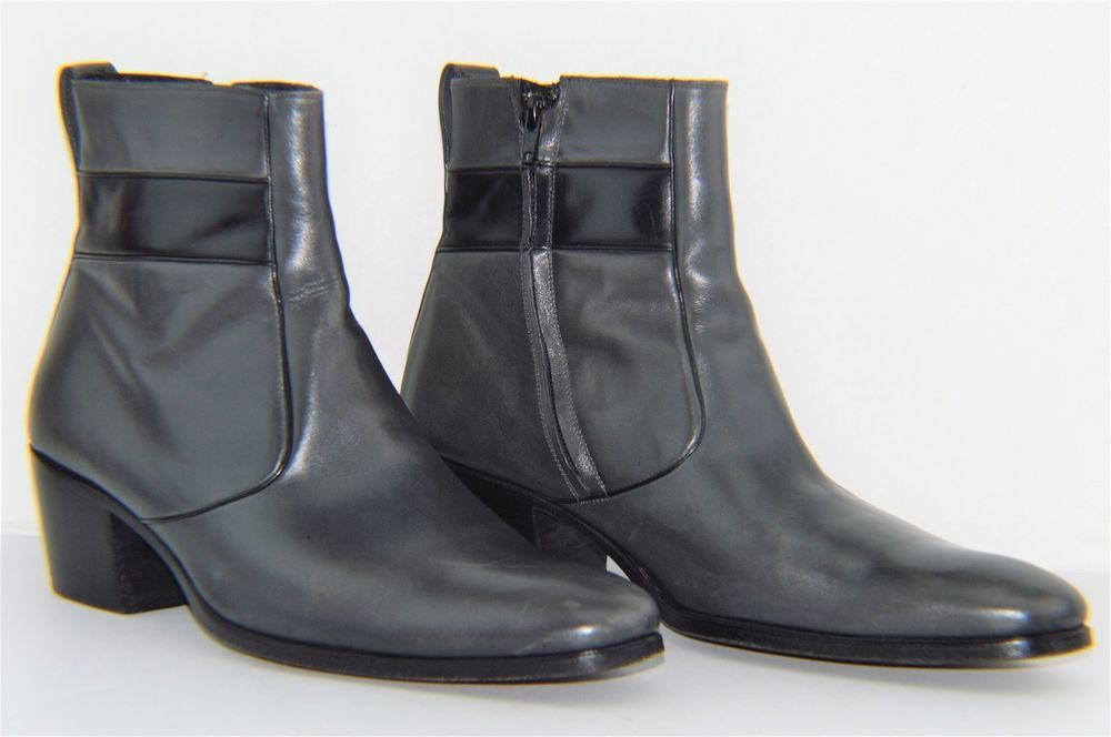 Christian Dior Homme Gray Leather Chelsea Heel Boots US 9 EU 42   ChristianDior  AnkleBoots a5f18db7661