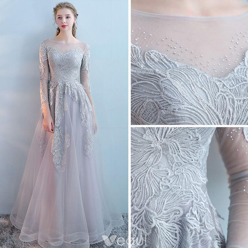 Mode Grau Abendkleider 2017 A Linie Rundhalsausschnitt ...