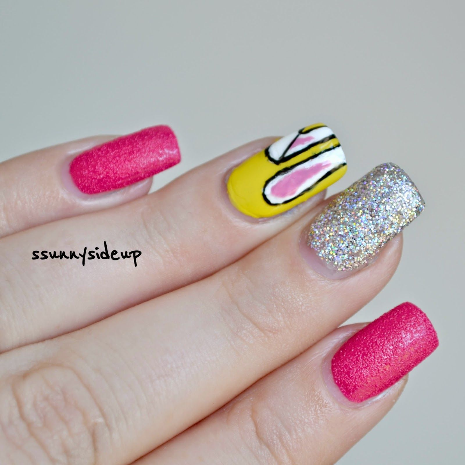 ssunnysideup: Hello to Mr. Easter bunny. Easter nail art with holo ...
