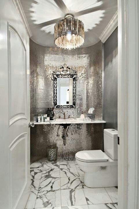 Powder room glitz *Bathrooms* Pinterest Hollywood regency