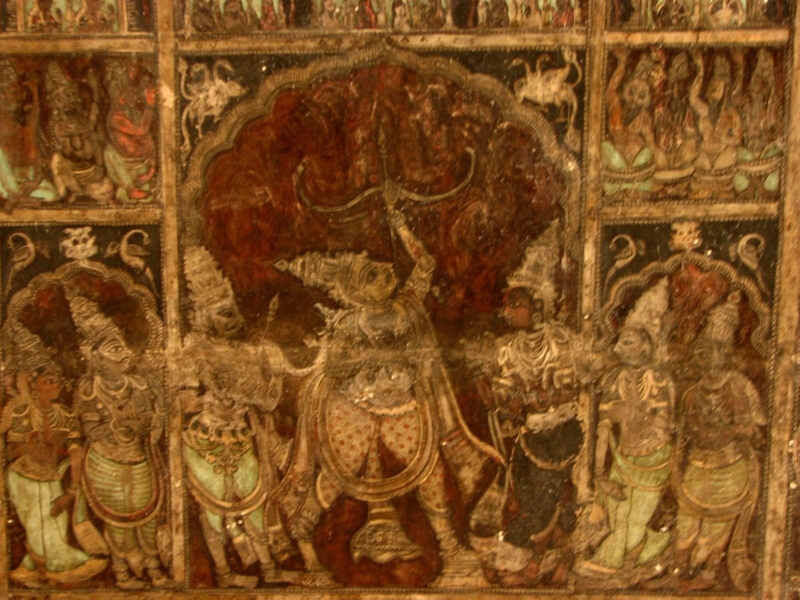 Painted ceiling, Virupaksha temple, Hampi, 15th century | Painting ...
