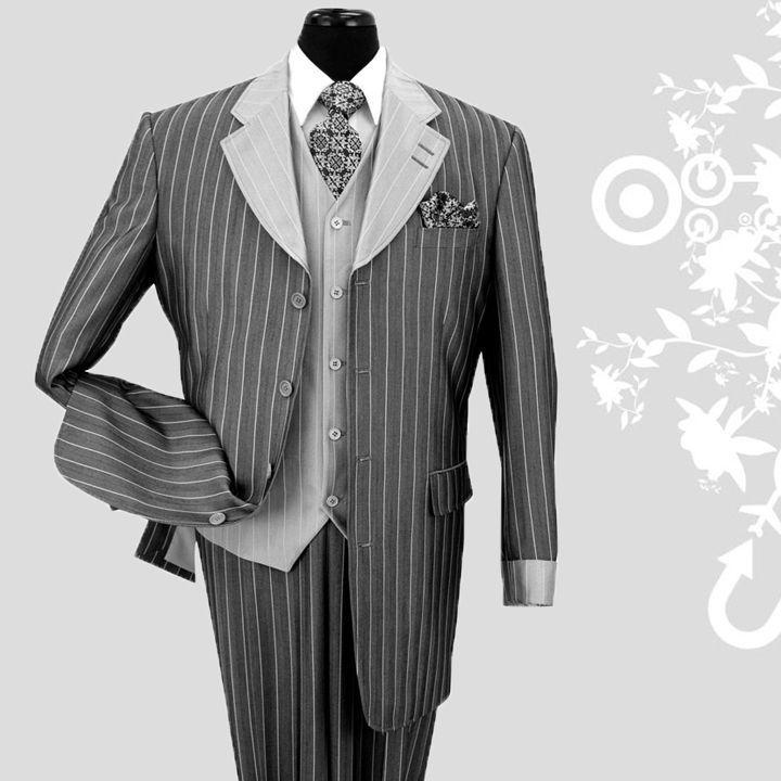 Men's 3 piece Luxurious Classic Gangster Pinstripe Wool Feel Suit Black sty-2911 #MilanoModa #FourButton