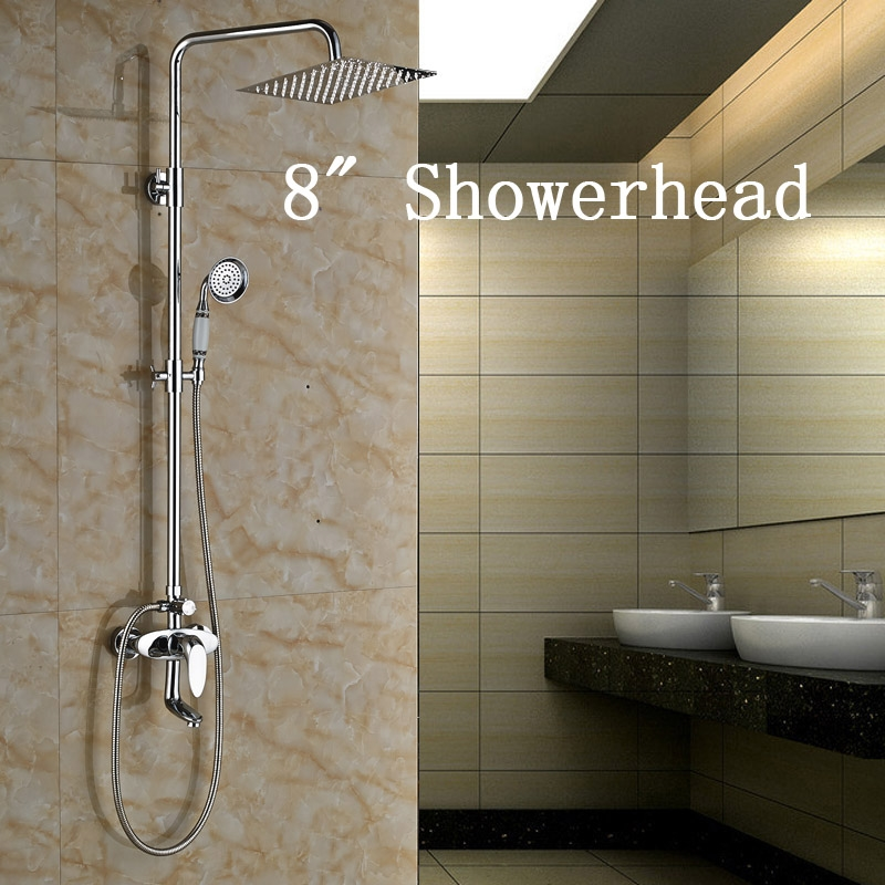 """94.55$  Buy here - http://alimad.worldwells.pw/go.php?t=32688146593 - """"Chrome Finish Shower Mixer Taps Wall Mounted Round 8"""""""" Rainfall Shower Head + Tub Spout + Hand Shower"""""""