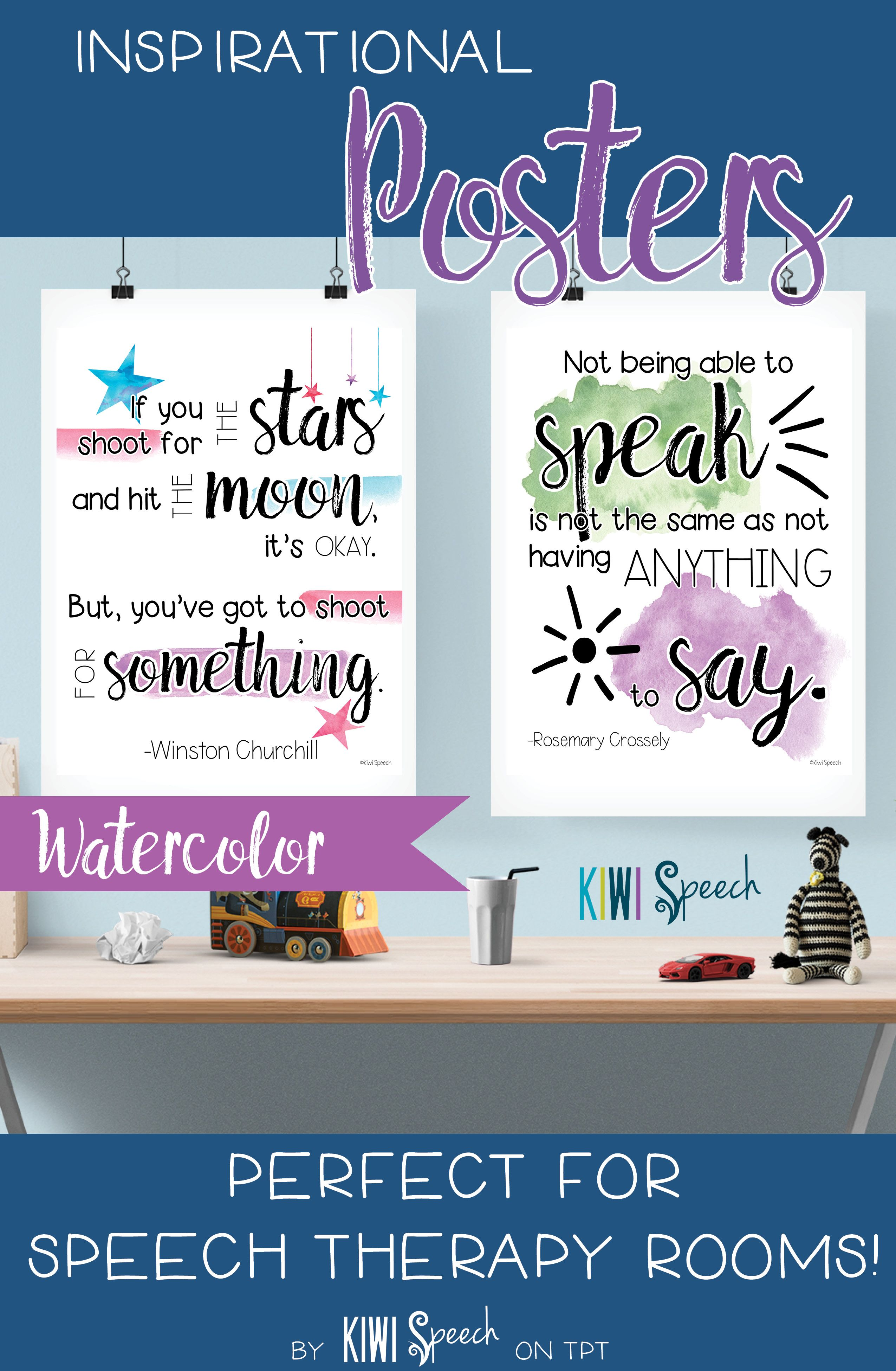 Speech Therapy Quotes Inspirational Posters For Classroom Decor Watercolor  Speech