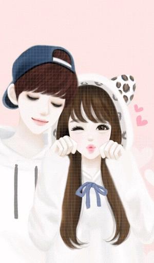 Korean Couple Cartoon Wallpaper