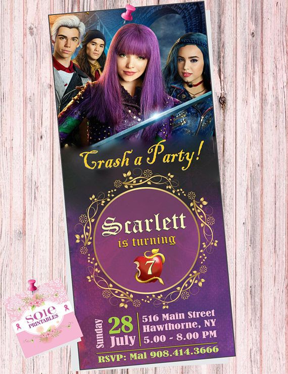 DESCENDANTS 2 BIRTHDAY INVITATION