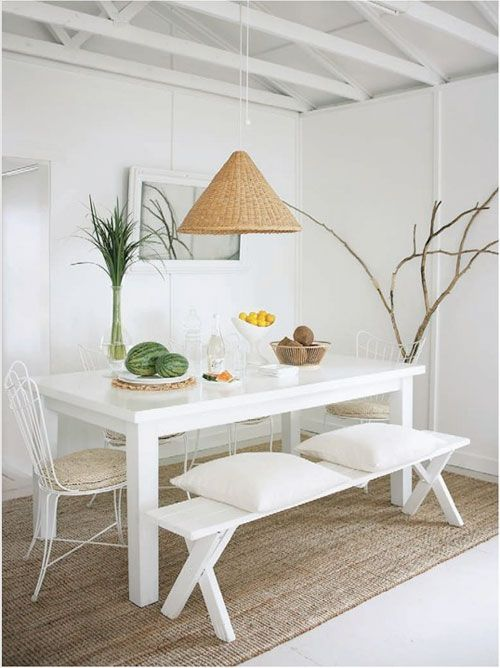 Dining Room Table  White Space White Space Dining Room With Custom White Dining Room Bench Design Ideas