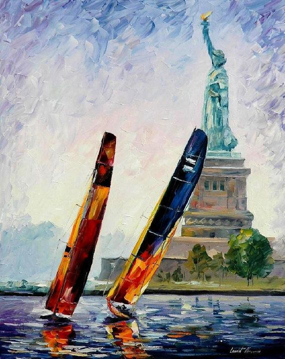 Winds Of New York — PALETTE KNIFE Oil Painting On Canvas By AfremovArtStudio #afremov #art #painting 원경에 주제 #구도