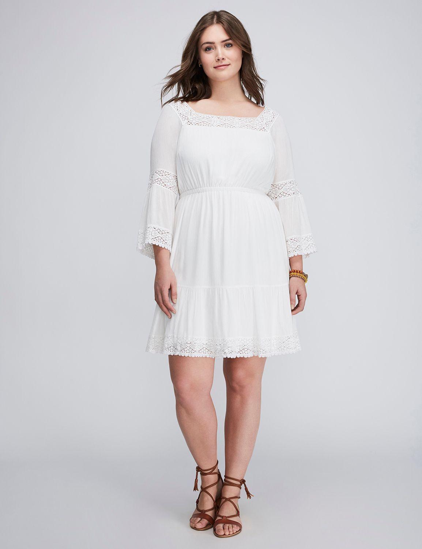 Lane Bryant Peasant Dress With Crochet Detail In White 80 Via Lanebryant Com Dresses Peasant Dress Plus Size Dress [ 1500 x 1154 Pixel ]