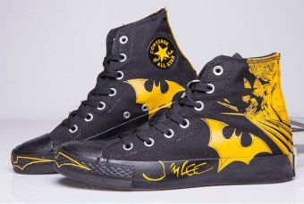 e665dea92de6 Black Yellow Batman Converse DC Comics High Tops Chuck Taylor All Star  Canvas Shoes