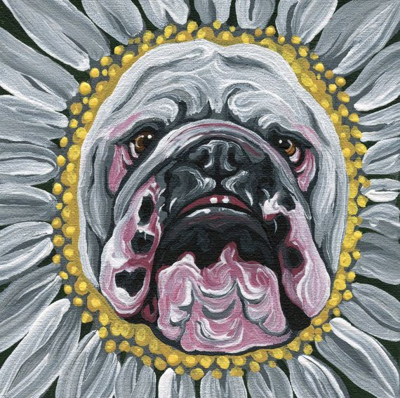 OOAK Original Canvas Magnet English Bulldog by carlascreatures