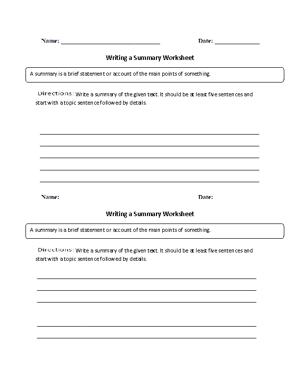 writing a summary worksheet