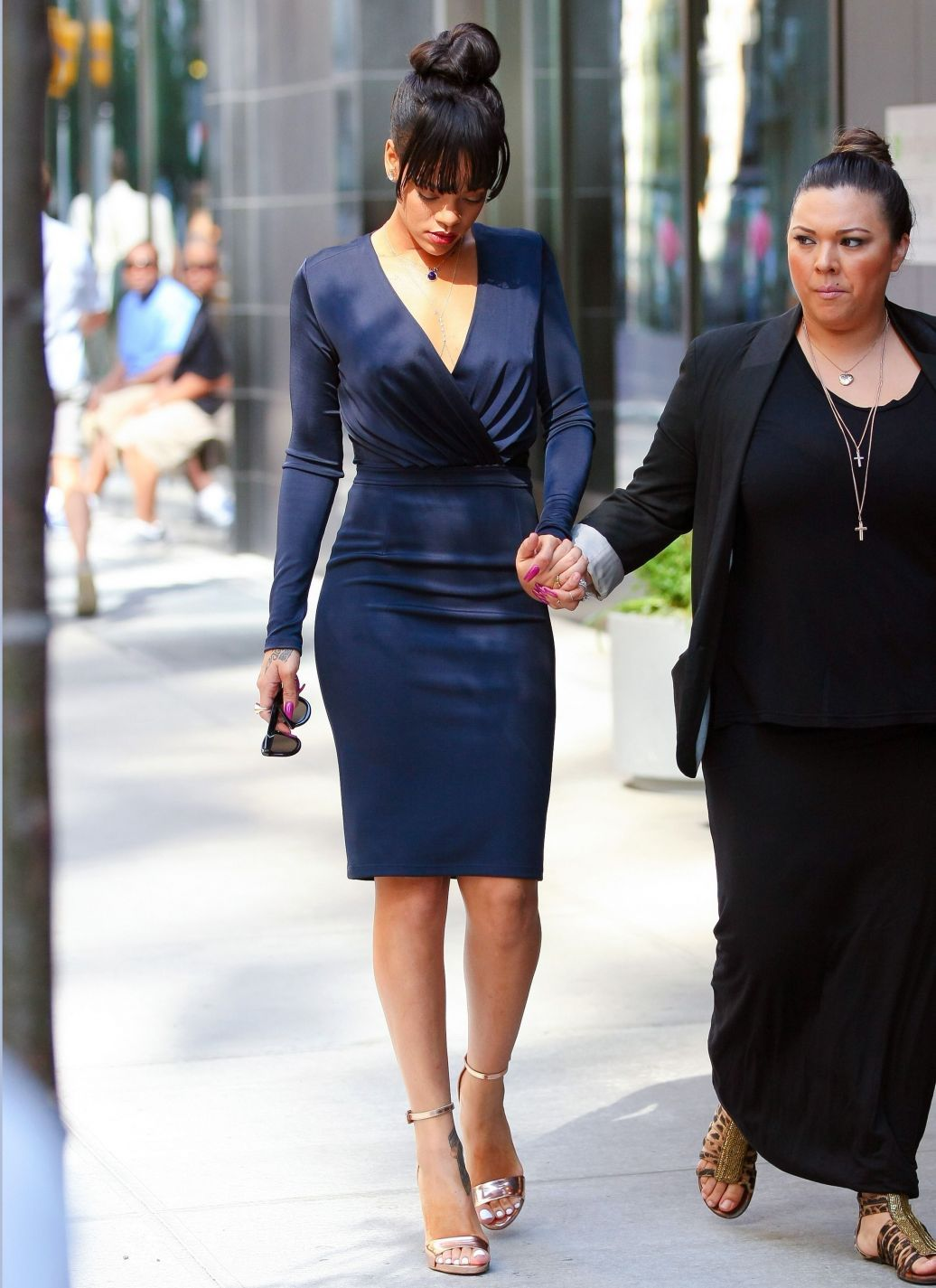Givenchy  Navy blue long sleeve dress, Rihanna style, Funeral outfit