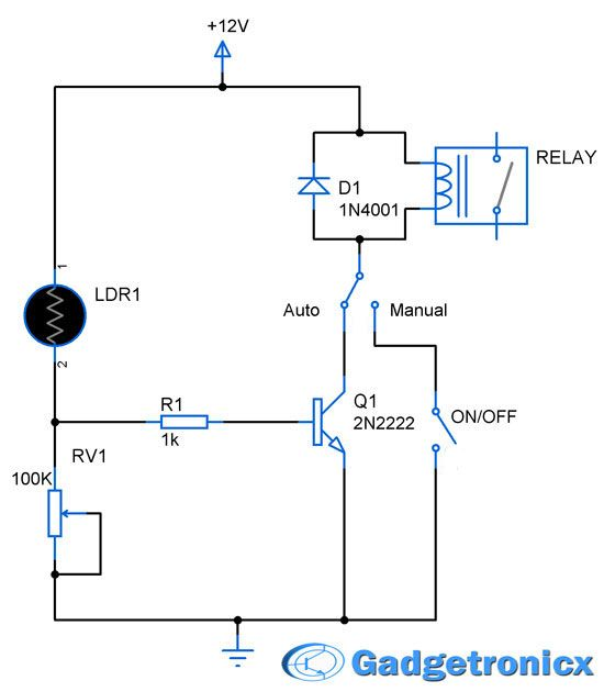 wiring diagram for flasher relay polaris predator 50 parking lights circuit electronic circuits electronics schematic or design using ldr transistor lamp and building a simple diy garage from your home