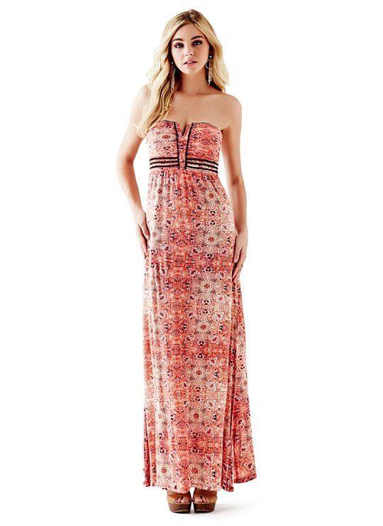 Strapless Applique Maxi Dress