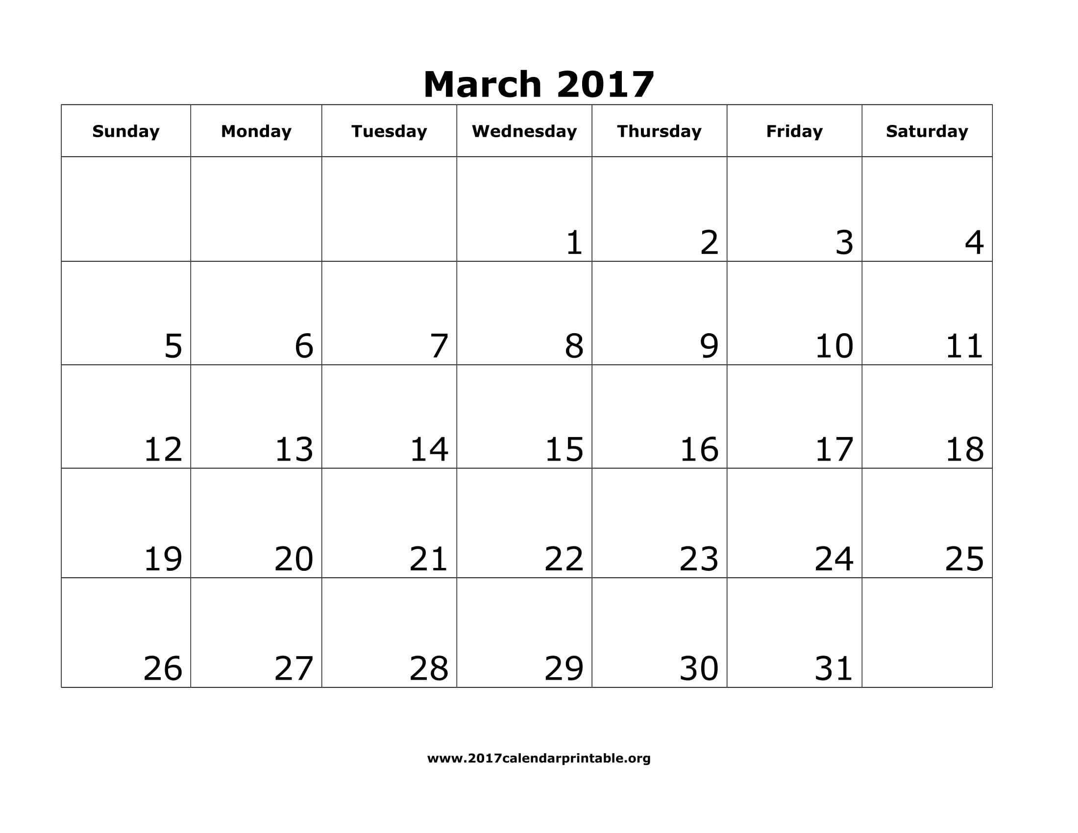 Download March 2017 Calendar Printable with federal holidays and ...