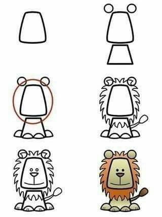 How to draw a lion · step