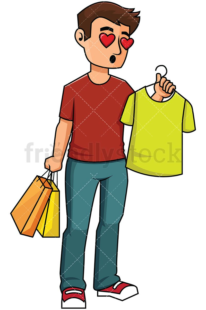 hight resolution of man falling in love with a t shirt while shopping royalty free stock vector illustration of a man with brown hair holding a t shirt while shopping and