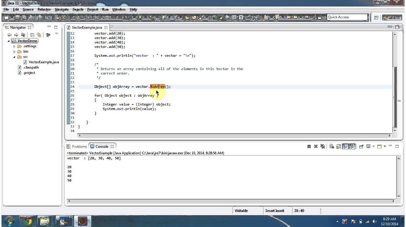 Java collection framework vector toarray java how