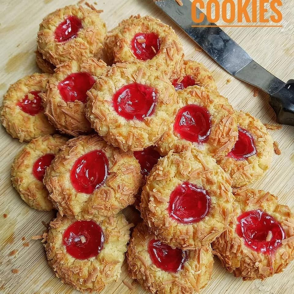 Kue Kering Cruncy Strawberry Cheese Thumbprint Cookise Kue Kering Resep Kue