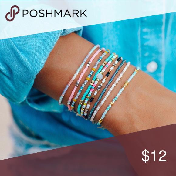 Set of three Rocailles beaded bracelets bracelet pulsera
