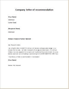 Company Letter Of Recommendation Download At HttpWriteletter