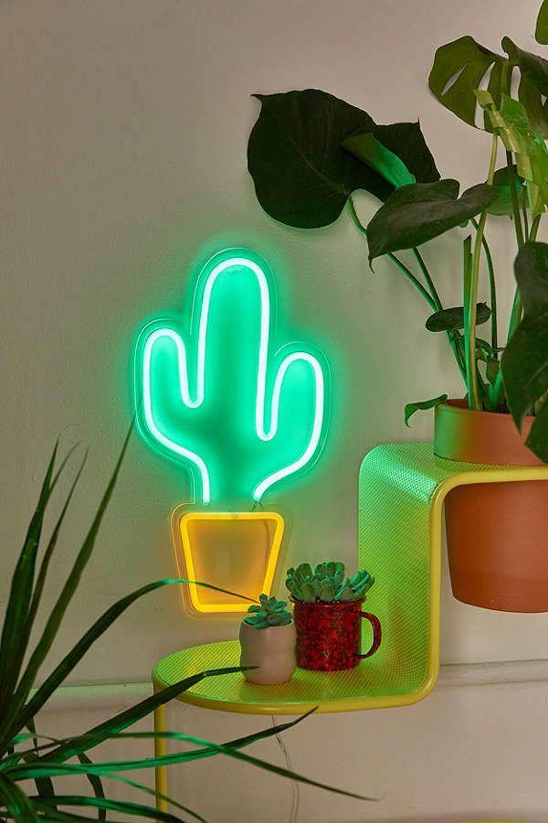 Urban Outfitters Potted Cactus Neon Sign Bohemian Life Boho Home Design Decor Nontraditional Living Elements O Neon Cactus Cactus Decor Cactus Light