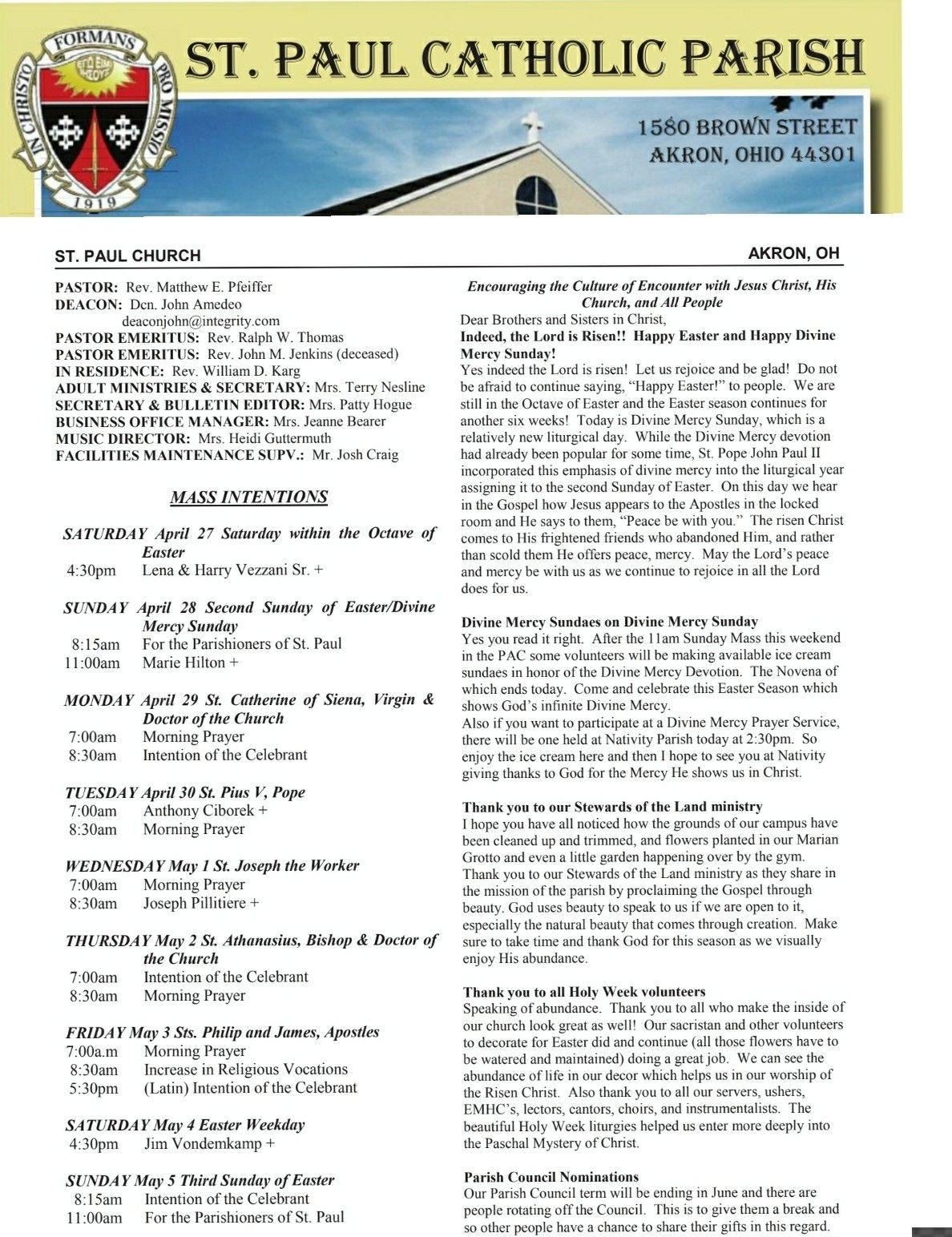 St Paul Catholic Parish Akron Ohio Bulletin Sunday April 28th