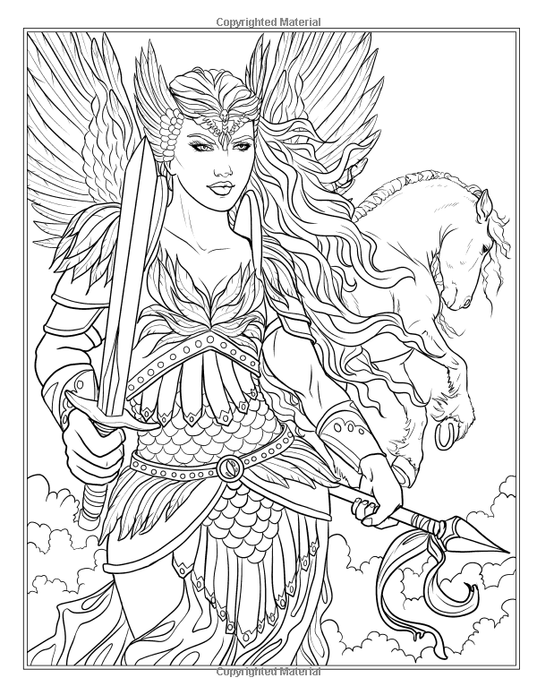 Goddess and mythology coloring book fantasy for Mythical coloring pages for adults