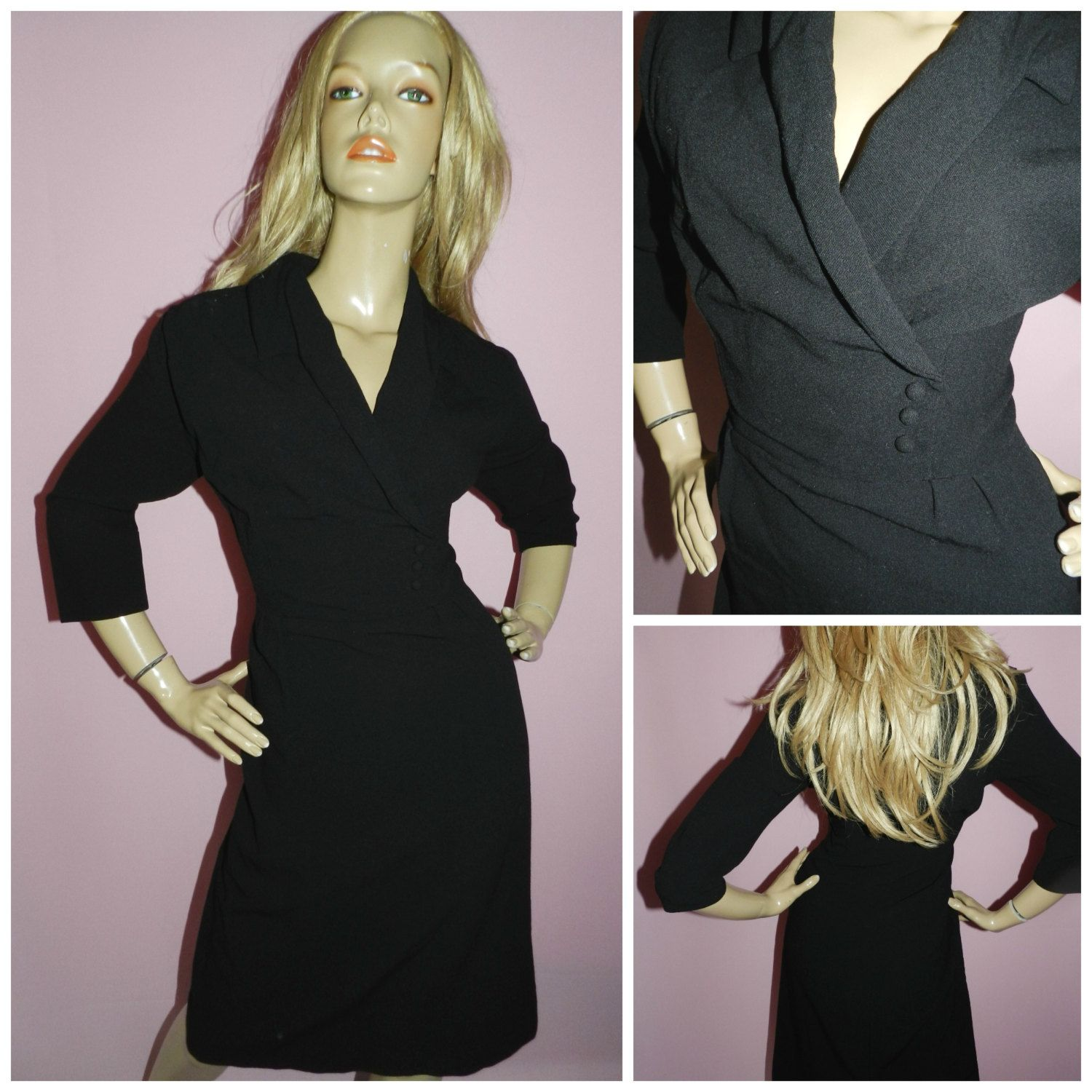 Vintage 40s Black TUXEDO Pin Up Wiggle COCKTAIL dress 12-14 1940s ...