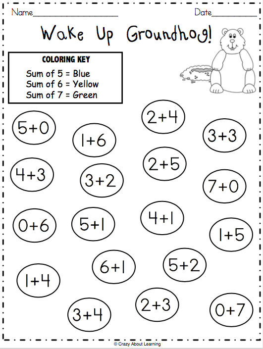 Groundhog Day Color By Addition Made By Teachers Math Worksheet Kids Math Worksheets Kindergarten Books
