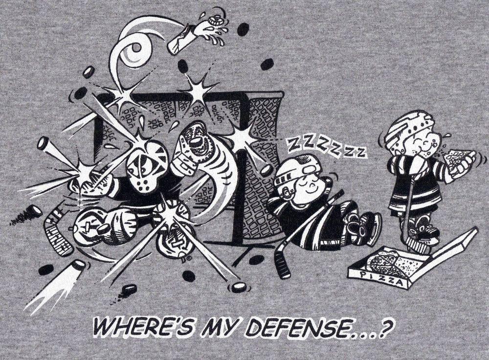 YOUTH Sizes Where's My Defense? GOALIE hockey Tshirt