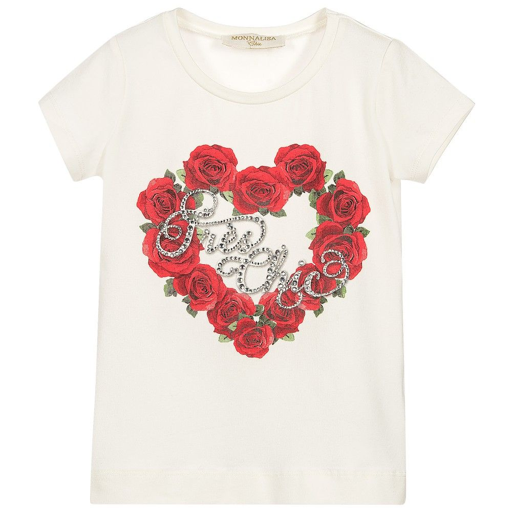 228345418686 Monnalisa Chic - Girls Ivory Rose   Diamanté T-Shirt