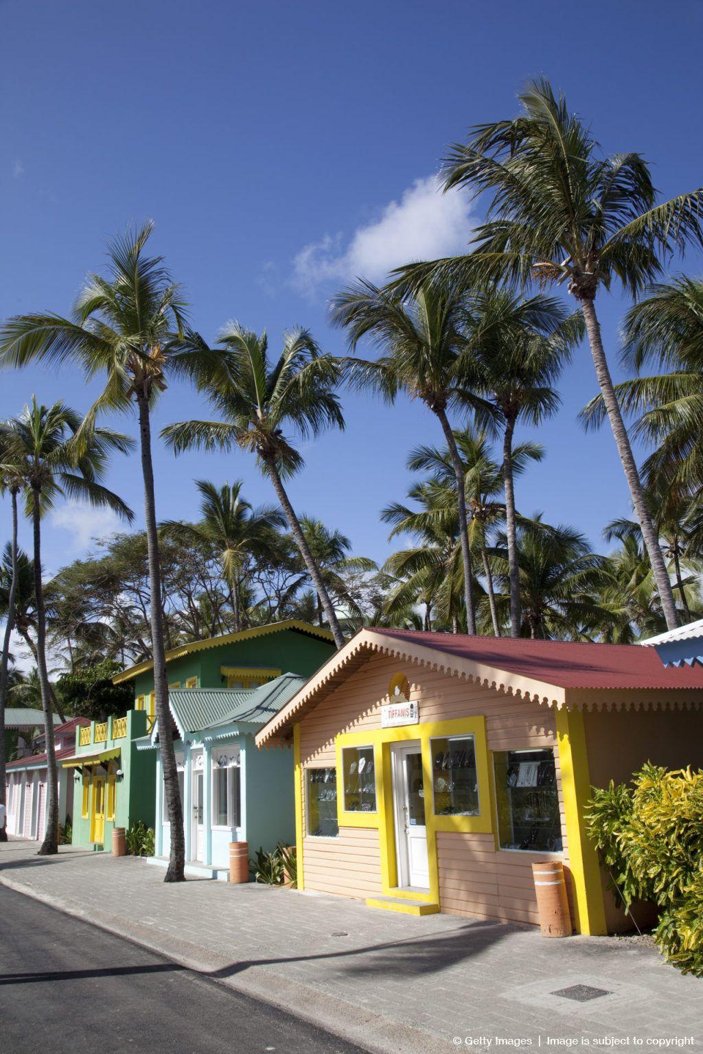 Riu Caribbean Street, Bavaro Beach, Punta Cana, Dominican Republic. love the colourful shops & houses