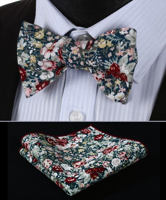 Men/'s Floral Flower Print Bowtie Self Tie Fashion Accessories