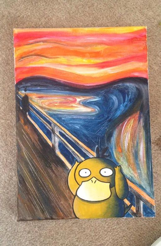 My Girlfriend Painted A Canvas As A Present For A Friend Pokemon Painting Mini Canvas Art Funny Paintings