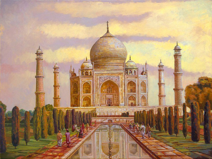 Taj Mahal Monuments India Uttar Pradesh Oil Painting