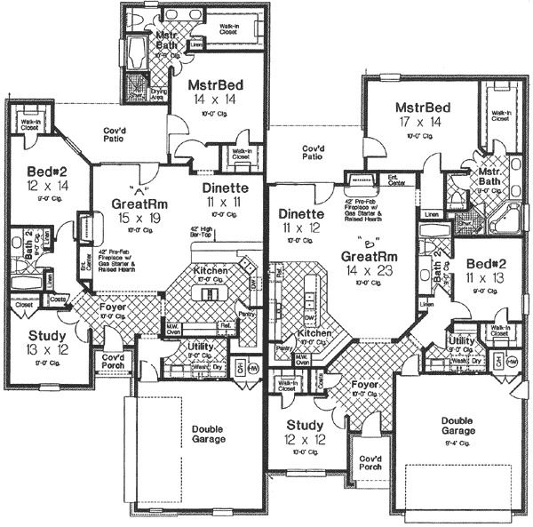 Plan 48271fm Gorgeous Multi Family Home Plan With 2 Units Family House Plans Duplex Floor Plans House Plans