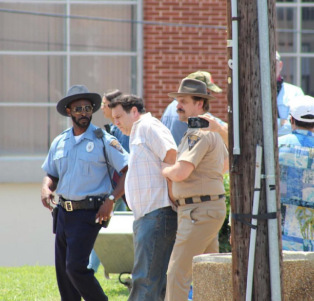 Rob Morgan and David Harbour on set of season 3
