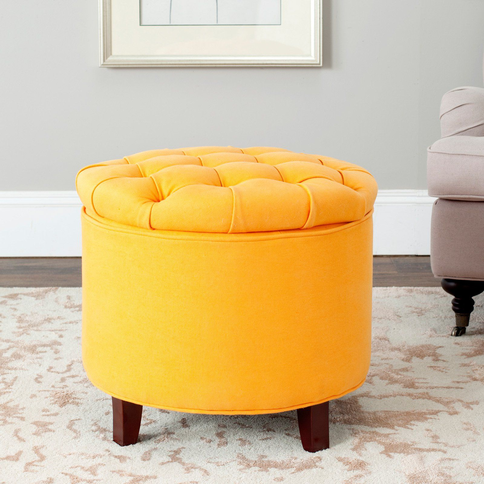 Peachy Safavieh Amelia Tufted Storage Ottoman Tangerine Products Gmtry Best Dining Table And Chair Ideas Images Gmtryco