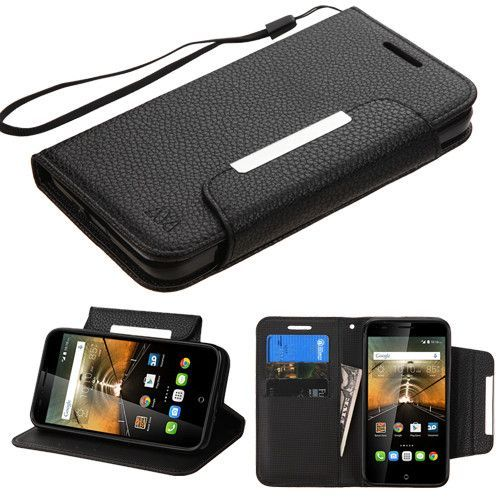 MYBAT Flip Stand Wallet Alcatel OneTouch Conquest Folio Case - Black
